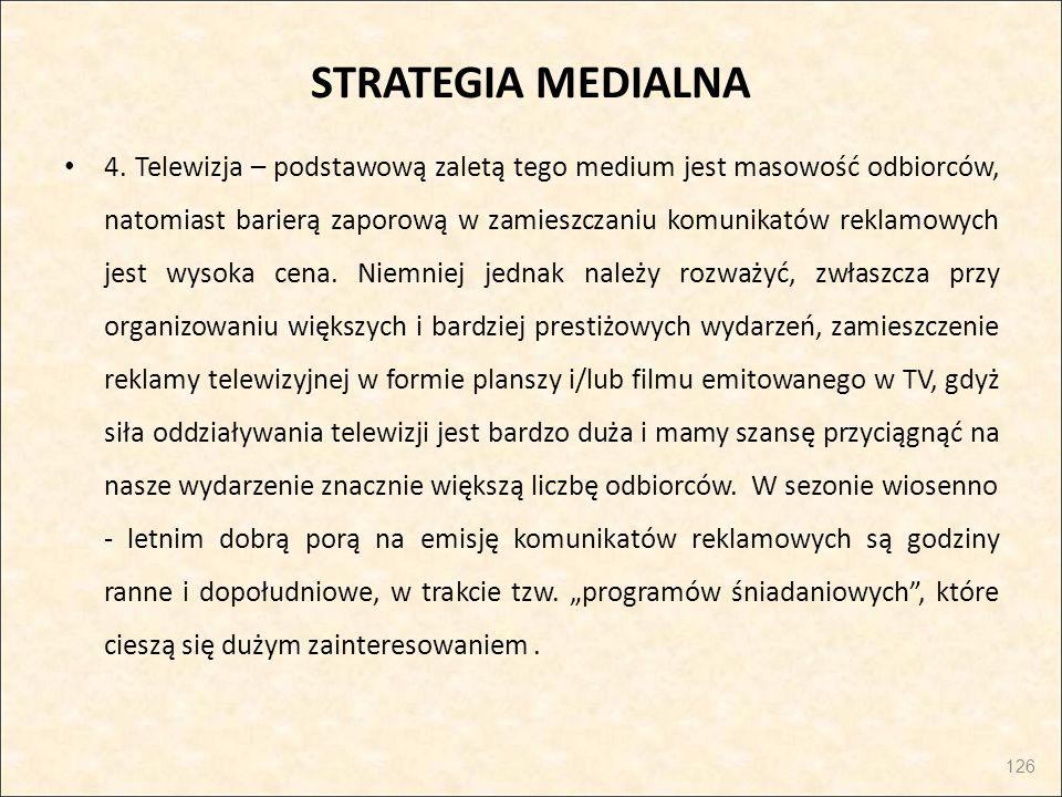 STRATEGIA MEDIALNA 4. Telewizja – podstawową zaletą tego medium jest masowość odbiorców, natomiast barierą zaporową w zamieszczaniu komunikatów reklam