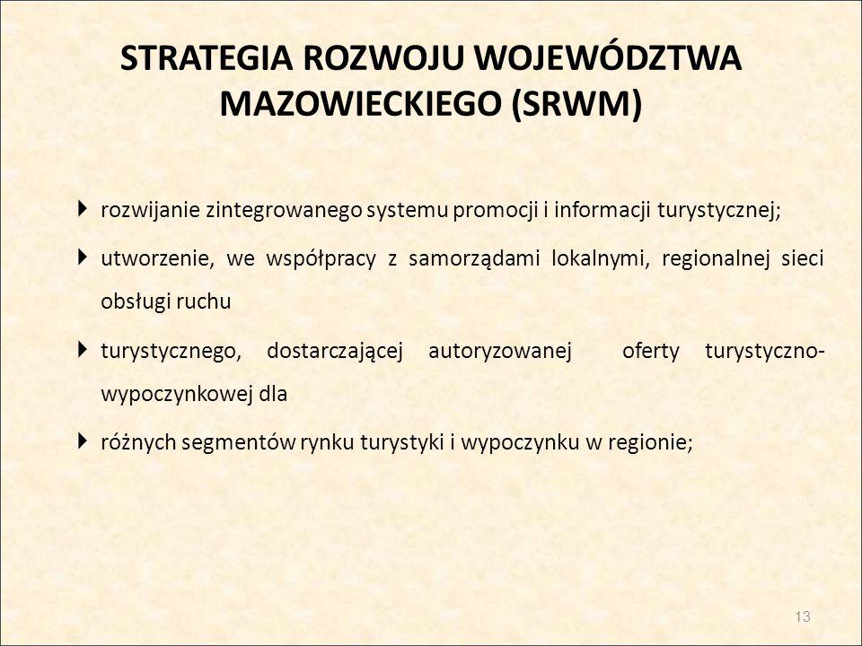 STRATEGIA ROZWOJU WOJEWÓDZTWA MAZOWIECKIEGO (SRWM)  rozwijanie zintegrowanego systemu promocji i informacji turystycznej;  utworzenie, we współpracy