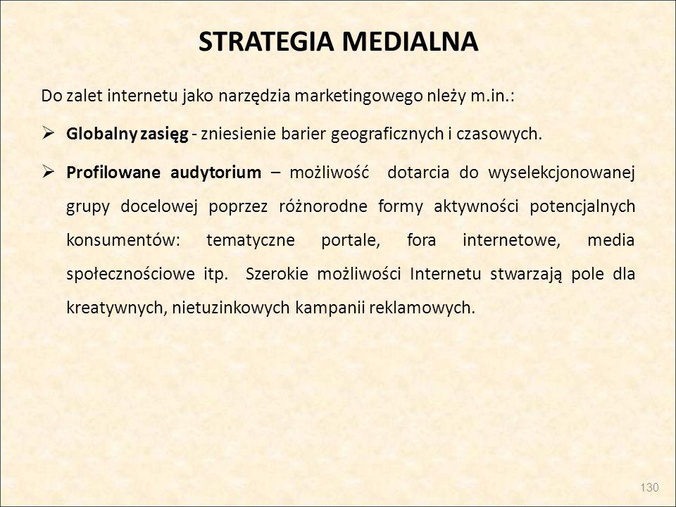 STRATEGIA MEDIALNA Do zalet internetu jako narzędzia marketingowego nleży m.in.:  Globalny zasięg - zniesienie barier geograficznych i czasowych.  P