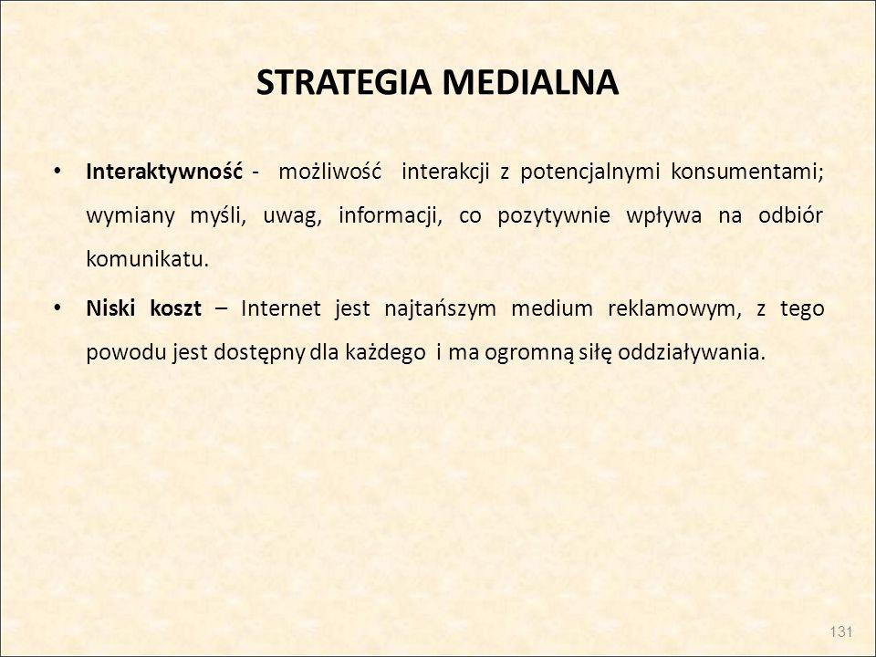STRATEGIA MEDIALNA Interaktywność - możliwość interakcji z potencjalnymi konsumentami; wymiany myśli, uwag, informacji, co pozytywnie wpływa na odbiór