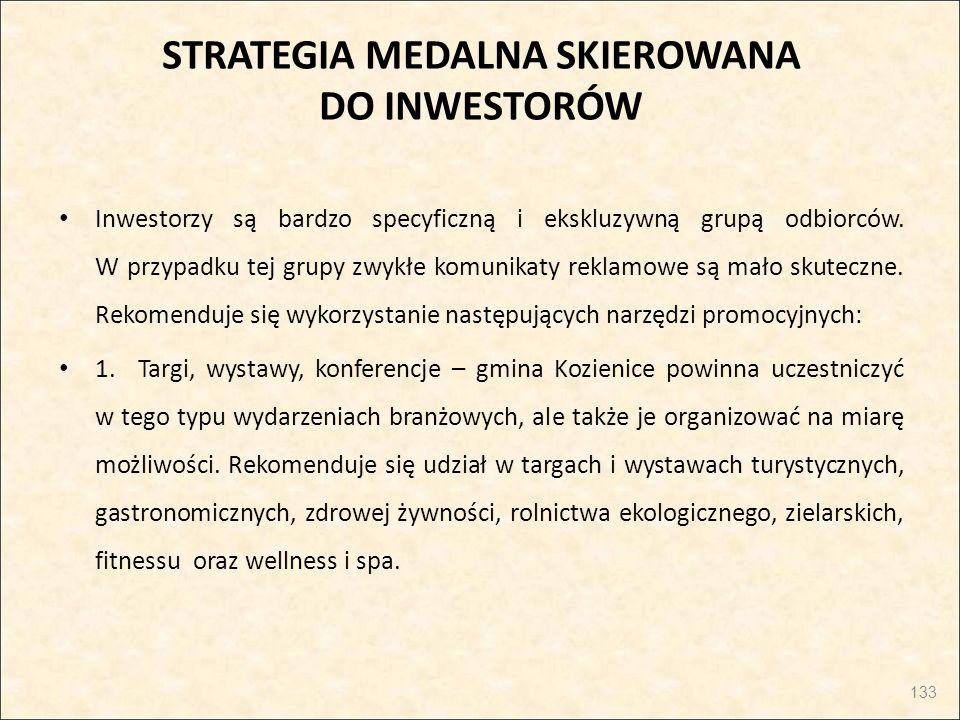 STRATEGIA MEDALNA SKIEROWANA DO INWESTORÓW Inwestorzy są bardzo specyficzną i ekskluzywną grupą odbiorców. W przypadku tej grupy zwykłe komunikaty rek