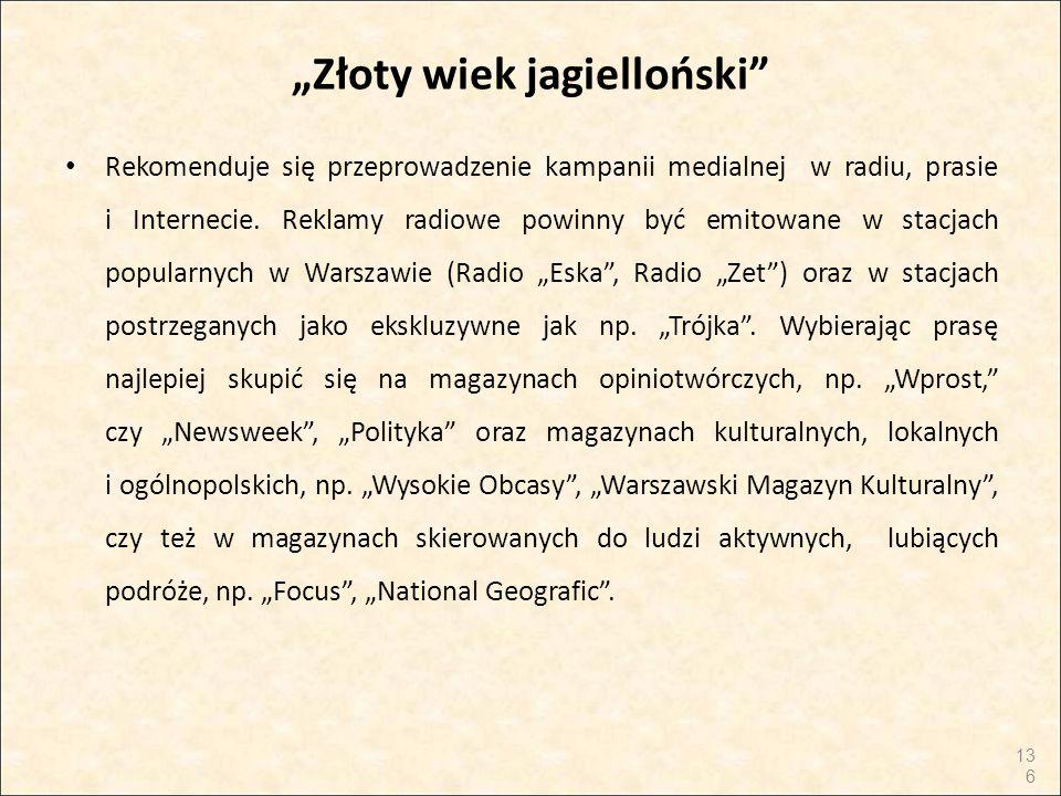"""""""Złoty wiek jagielloński"""" Rekomenduje się przeprowadzenie kampanii medialnej w radiu, prasie i Internecie. Reklamy radiowe powinny być emitowane w sta"""