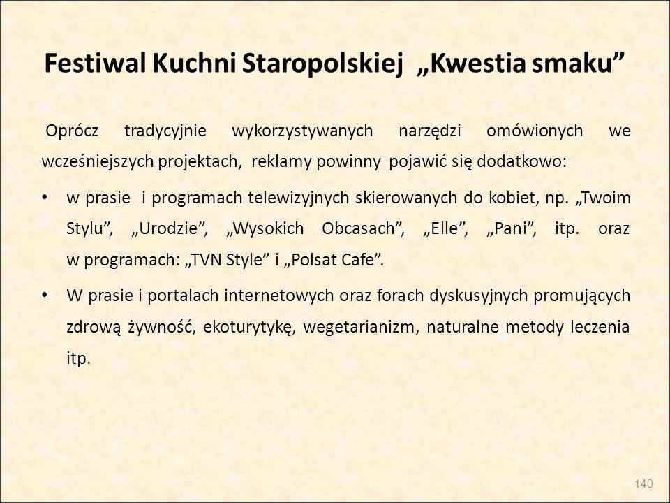 """Festiwal Kuchni Staropolskiej """"Kwestia smaku"""" Oprócz tradycyjnie wykorzystywanych narzędzi omówionych we wcześniejszych projektach, reklamy powinny po"""