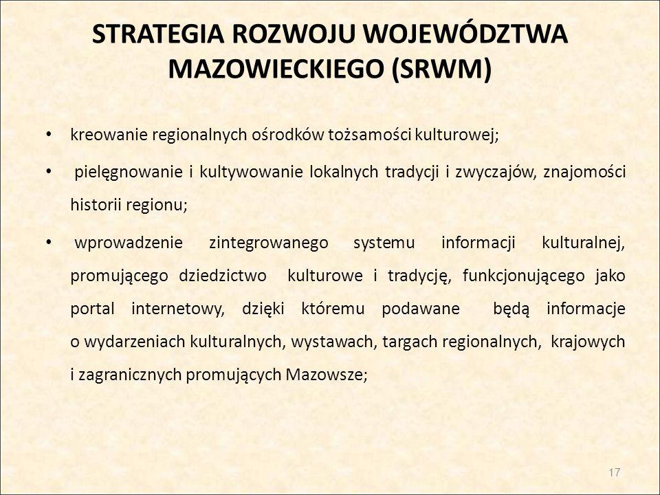 STRATEGIA ROZWOJU WOJEWÓDZTWA MAZOWIECKIEGO (SRWM) kreowanie regionalnych ośrodków tożsamości kulturowej; pielęgnowanie i kultywowanie lokalnych trady