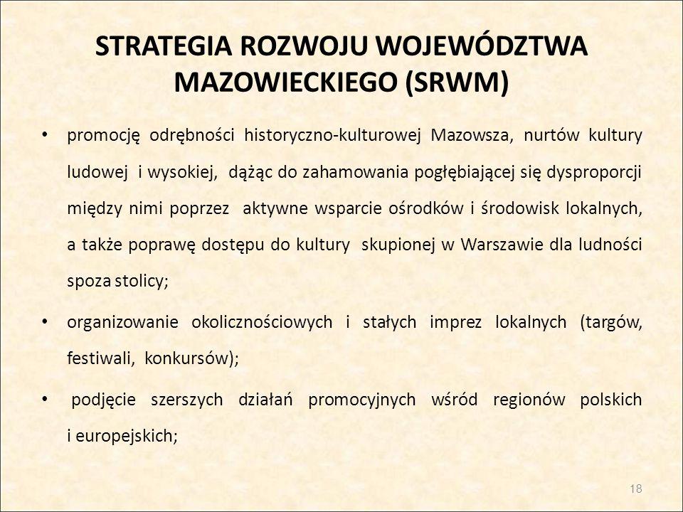 STRATEGIA ROZWOJU WOJEWÓDZTWA MAZOWIECKIEGO (SRWM) promocję odrębności historyczno-kulturowej Mazowsza, nurtów kultury ludowej i wysokiej, dążąc do za