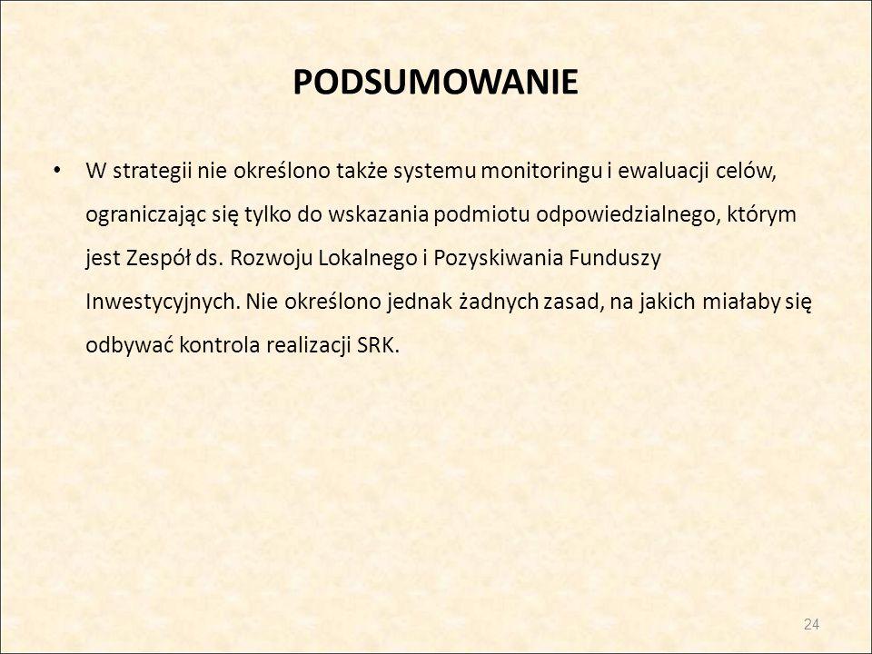 PODSUMOWANIE W strategii nie określono także systemu monitoringu i ewaluacji celów, ograniczając się tylko do wskazania podmiotu odpowiedzialnego, któ