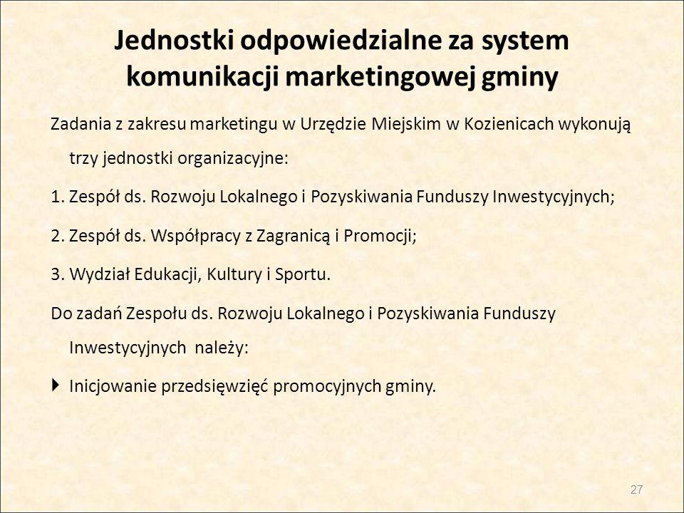 Jednostki odpowiedzialne za system komunikacji marketingowej gminy Zadania z zakresu marketingu w Urzędzie Miejskim w Kozienicach wykonują trzy jednos