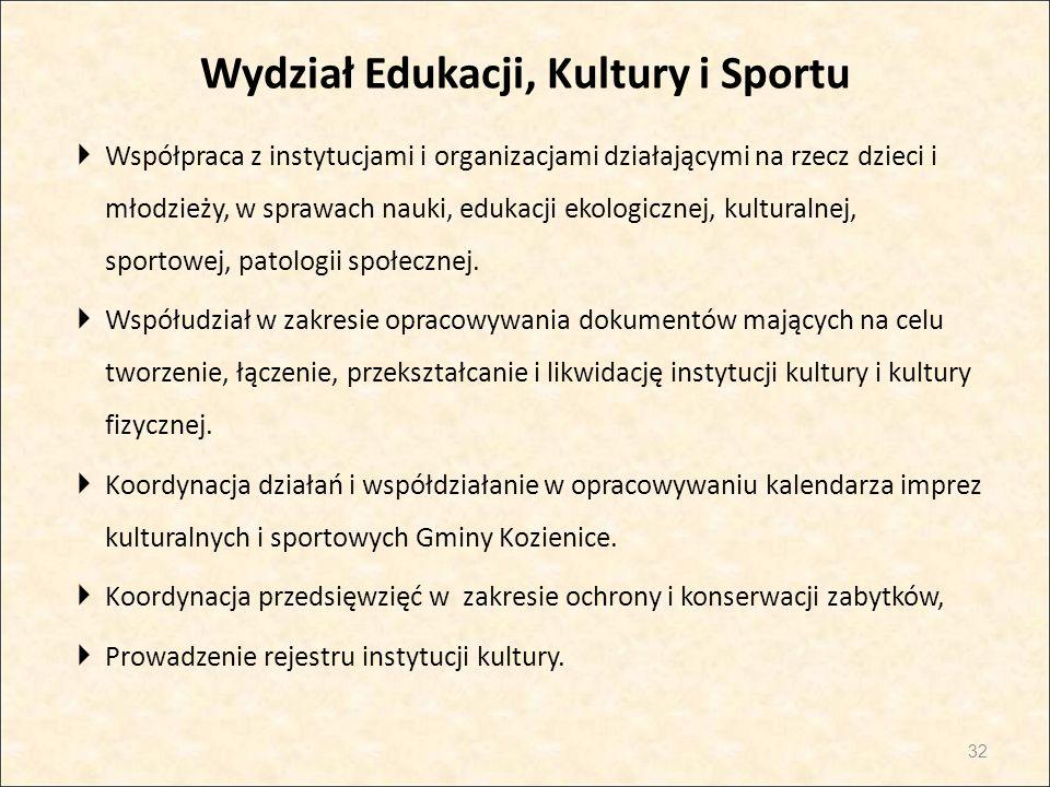 Wydział Edukacji, Kultury i Sportu  Współpraca z instytucjami i organizacjami działającymi na rzecz dzieci i młodzieży, w sprawach nauki, edukacji ek