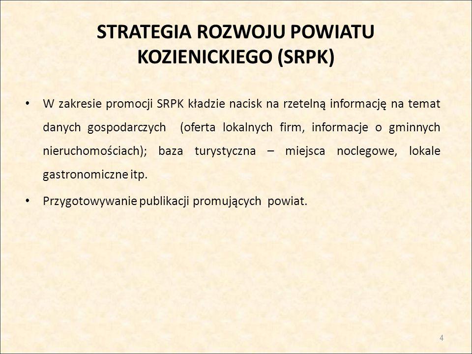 STRATEGIA ROZWOJU POWIATU KOZIENICKIEGO (SRPK) W zakresie promocji SRPK kładzie nacisk na rzetelną informację na temat danych gospodarczych (oferta lo