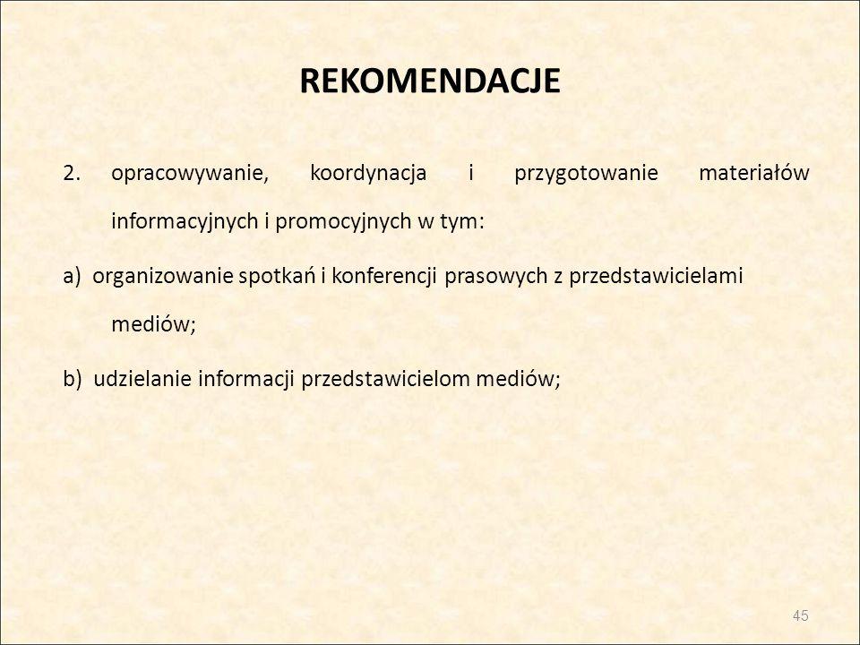 REKOMENDACJE 2.opracowywanie, koordynacja i przygotowanie materiałów informacyjnych i promocyjnych w tym: a) organizowanie spotkań i konferencji praso