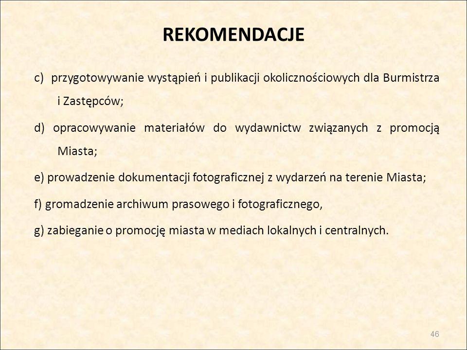 REKOMENDACJE c) przygotowywanie wystąpień i publikacji okolicznościowych dla Burmistrza i Zastępców; d) opracowywanie materiałów do wydawnictw związan