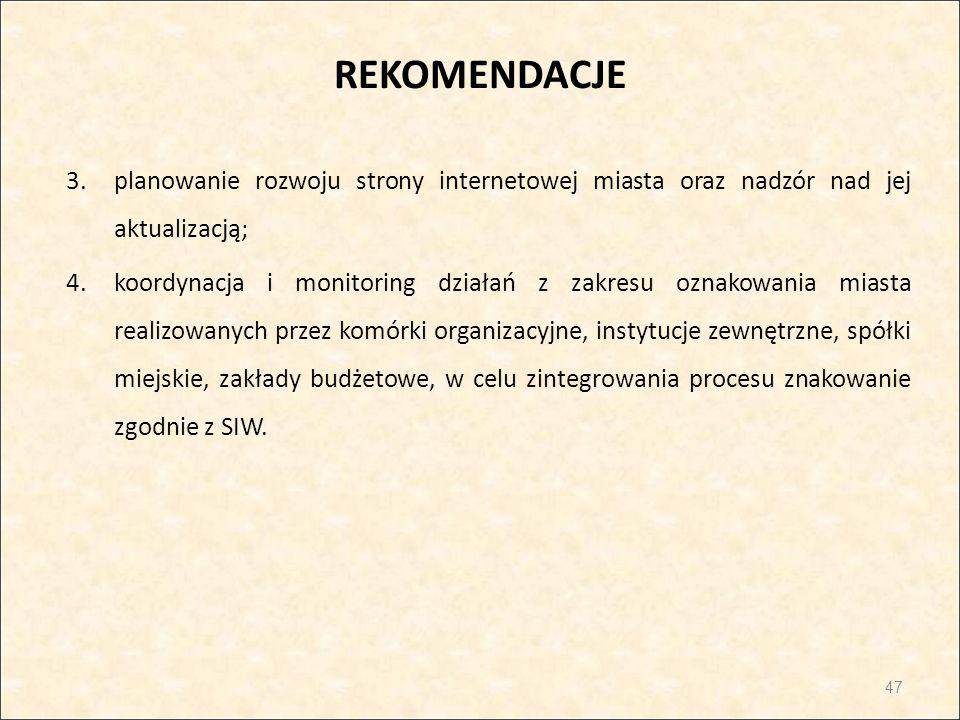 REKOMENDACJE 3.planowanie rozwoju strony internetowej miasta oraz nadzór nad jej aktualizacją; 4.koordynacja i monitoring działań z zakresu oznakowani