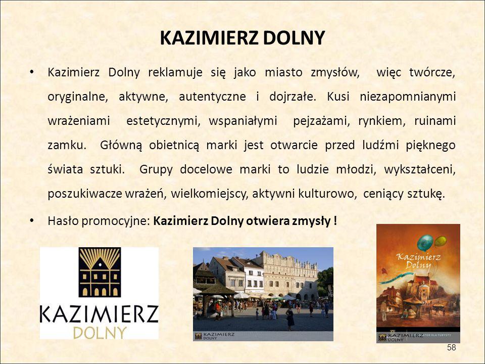 KAZIMIERZ DOLNY Kazimierz Dolny reklamuje się jako miasto zmysłów, więc twórcze, oryginalne, aktywne, autentyczne i dojrzałe. Kusi niezapomnianymi wra