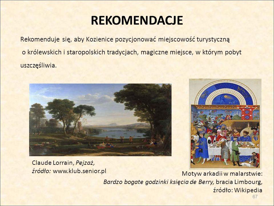 REKOMENDACJE Rekomenduje się, aby Kozienice pozycjonować miejscowość turystyczną o królewskich i staropolskich tradycjach, magiczne miejsce, w którym