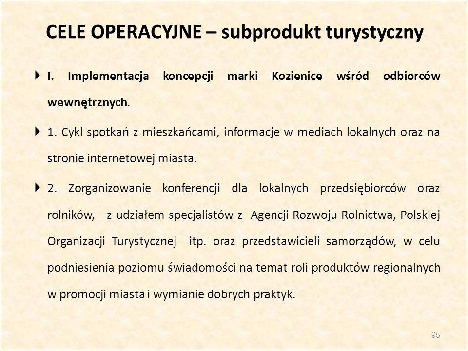 CELE OPERACYJNE – subprodukt turystyczny  I. Implementacja koncepcji marki Kozienice wśród odbiorców wewnętrznych.  1. Cykl spotkań z mieszkańcami,