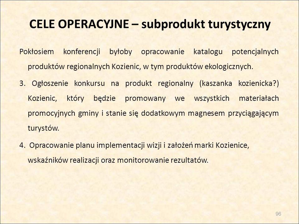 CELE OPERACYJNE – subprodukt turystyczny Pokłosiem konferencji byłoby opracowanie katalogu potencjalnych produktów regionalnych Kozienic, w tym produk
