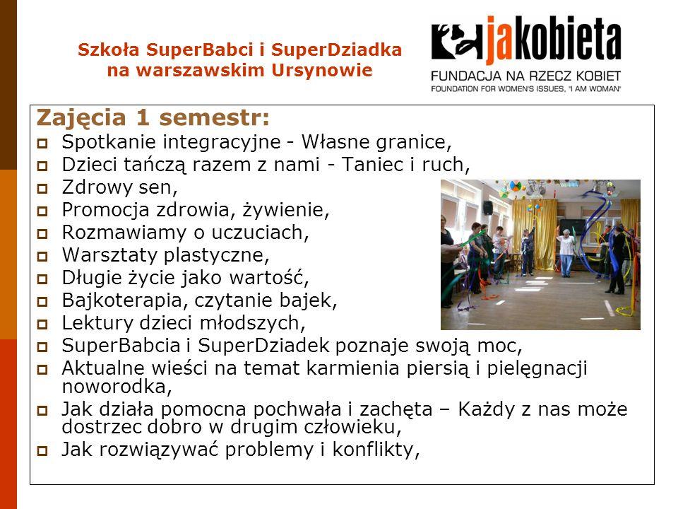 Szkoła SuperBabci i SuperDziadka na warszawskim Ursynowie Zajęcia 1 semestr:  Spotkanie integracyjne - Własne granice,  Dzieci tańczą razem z nami -