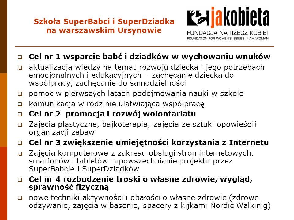 Szkoła SuperBabci i SuperDziadka na warszawskim Ursynowie  Cel nr 1 wsparcie babć i dziadków w wychowaniu wnuków  aktualizacja wiedzy na temat rozwo