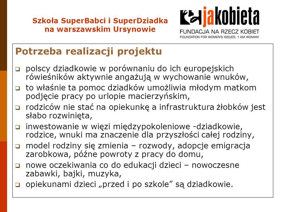 Szkoła SuperBabci i SuperDziadka na warszawskim Ursynowie Potrzeba realizacji projektu  polscy dziadkowie w porównaniu do ich europejskich rówieśnikó