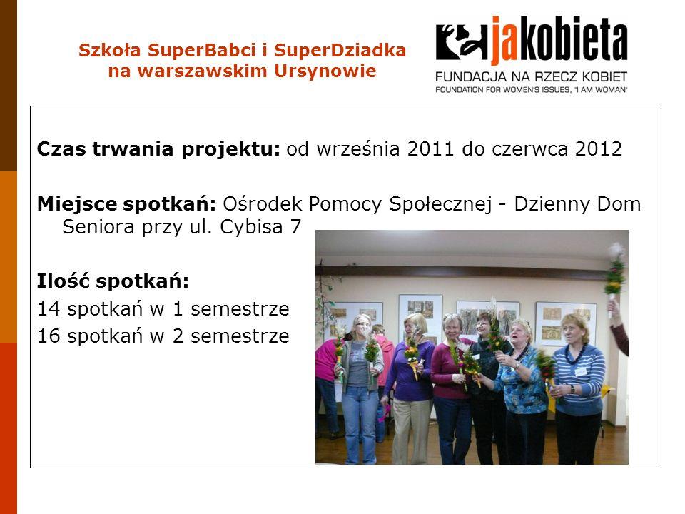 Czas trwania projektu: od września 2011 do czerwca 2012 Miejsce spotkań: Ośrodek Pomocy Społecznej - Dzienny Dom Seniora przy ul. Cybisa 7 Ilość spotk