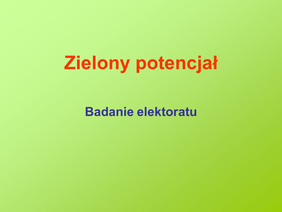 Zielony potencjał Badanie elektoratu