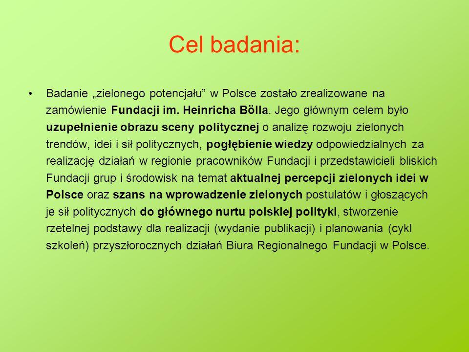 """SWOT - Szanse  Wzrost zainteresowania problematyką ekologiczną w Polsce,  Dość wysokie poparcie dla niektórych pozaekologicznych postulatów Zielonych (równość płci, niezaangażowanie militarne),  Znaczny potencjalny elektorat wyborców """"partii ekologicznej ,  Zieloni 2004 to partia drugiego wyboru dla 2,8% wyborców (największy odsetek wśród małych partii pozaparlamentarnych),  Zieloni 2004 to partia najsilniej kojarzona z ekologią,  Zniechęcenie wyborców do istniejących partii,  Wzrastający dobrobyt gospodarczy, zazwyczaj przekładający się na zwiększenie poparcia dla postulatów postmaterialistycznych,  Dostępność nowoczesnych technik komunikacyjnych,  Słabość partii lewicowych w Polsce."""