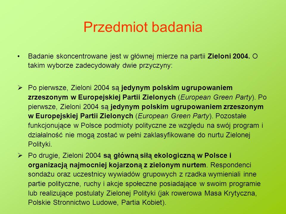 Przedmiot badania Badanie skoncentrowane jest w głównej mierze na partii Zieloni 2004. O takim wyborze zadecydowały dwie przyczyny:  Po pierwsze, Zie