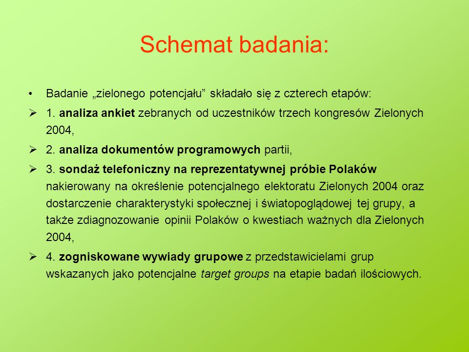 """Schemat badania: Badanie """"zielonego potencjału"""" składało się z czterech etapów:  1. analiza ankiet zebranych od uczestników trzech kongresów Zielonyc"""