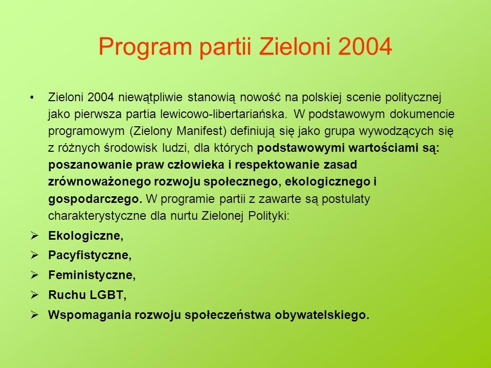 Program partii Zieloni 2004 Zieloni 2004 niewątpliwie stanowią nowość na polskiej scenie politycznej jako pierwsza partia lewicowo-libertariańska. W p