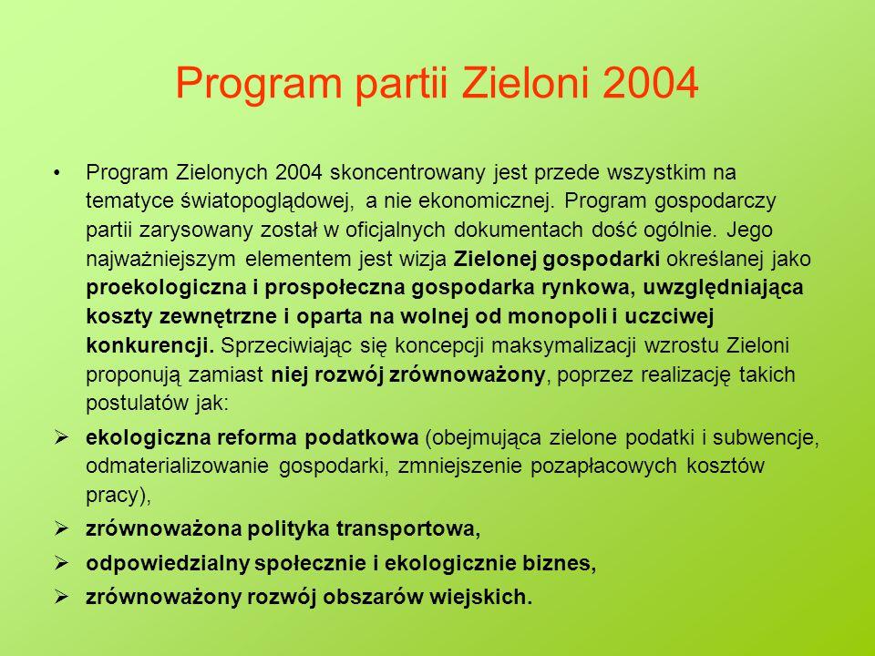 Program partii Zieloni 2004 Program Zielonych 2004 skoncentrowany jest przede wszystkim na tematyce światopoglądowej, a nie ekonomicznej. Program gosp