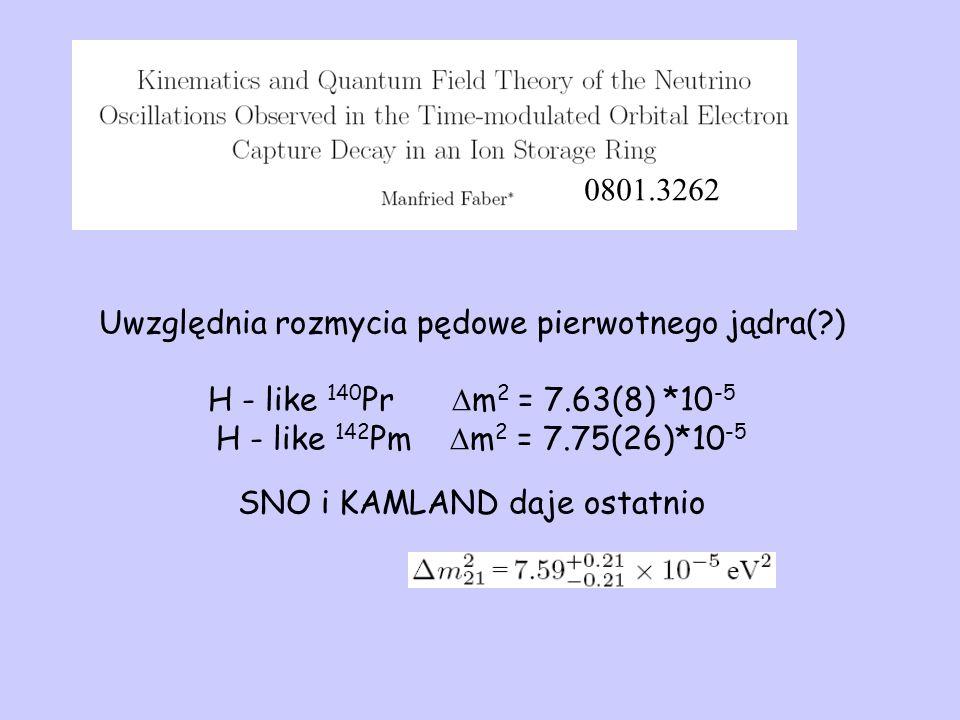 Uwzględnia rozmycia pędowe pierwotnego jądra( ) H - like 140 Pr  m 2 = 7.63(8) *10 -5 H - like 142 Pm  m 2 = 7.75(26)*10 -5 SNO i KAMLAND daje ostatnio 0801.3262