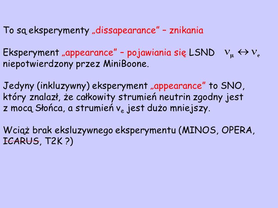 """To są eksperymenty """"dissapearance – znikania Eksperyment """"appearance – pojawiania się LSND niepotwierdzony przez MiniBoone."""