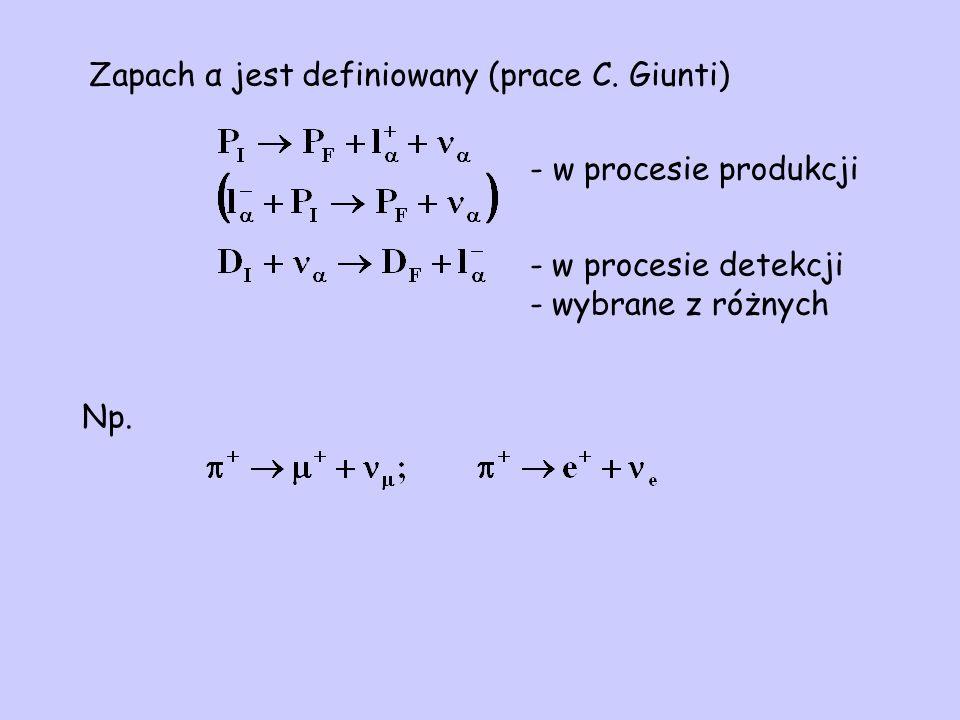 Zapach α jest definiowany (prace C. Giunti) Np.
