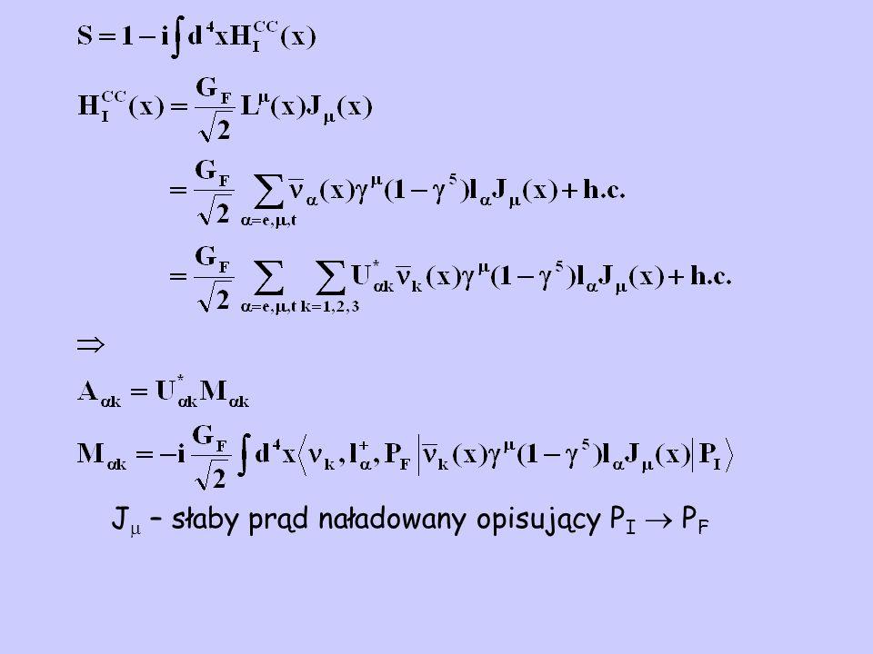 J  – słaby prąd naładowany opisujący P I  P F