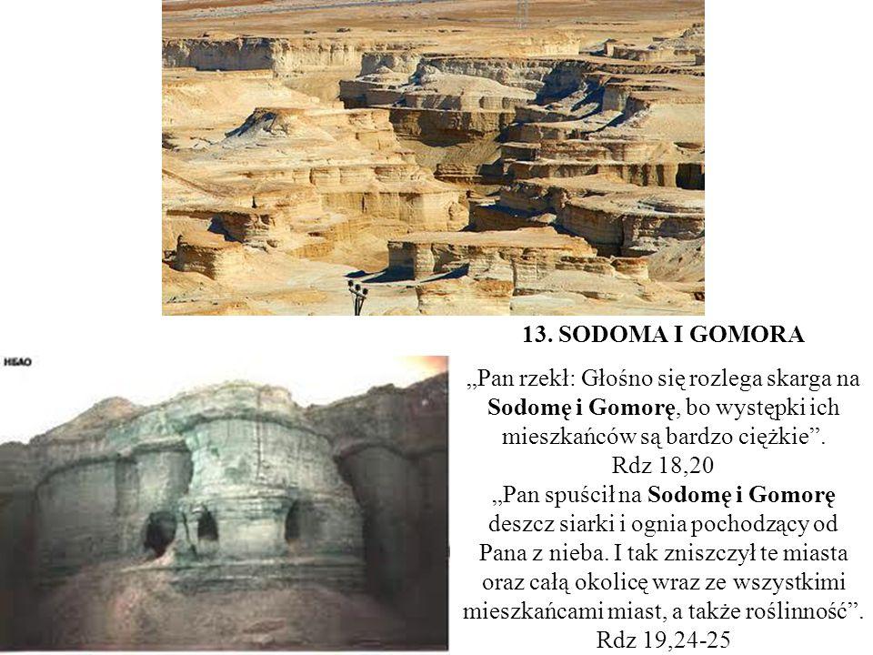 """13. SODOMA I GOMORA """"Pan rzekł: Głośno się rozlega skarga na Sodomę i Gomorę, bo występki ich mieszkańców są bardzo ciężkie"""". Rdz 18,20 """"Pan spuścił n"""