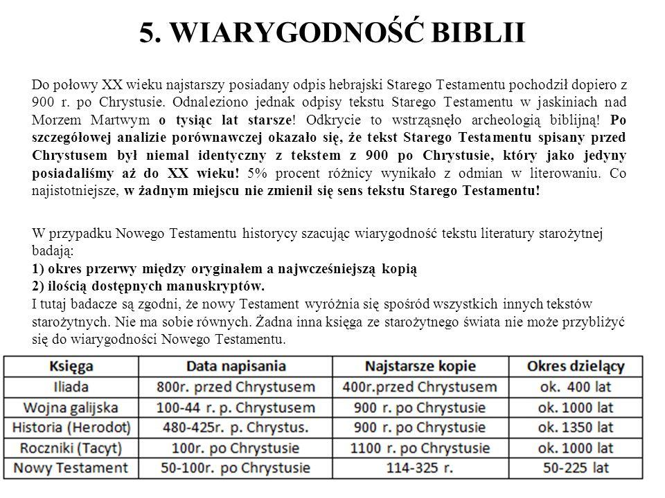 5. WIARYGODNOŚĆ BIBLII Do połowy XX wieku najstarszy posiadany odpis hebrajski Starego Testamentu pochodził dopiero z 900 r. po Chrystusie. Odnalezion