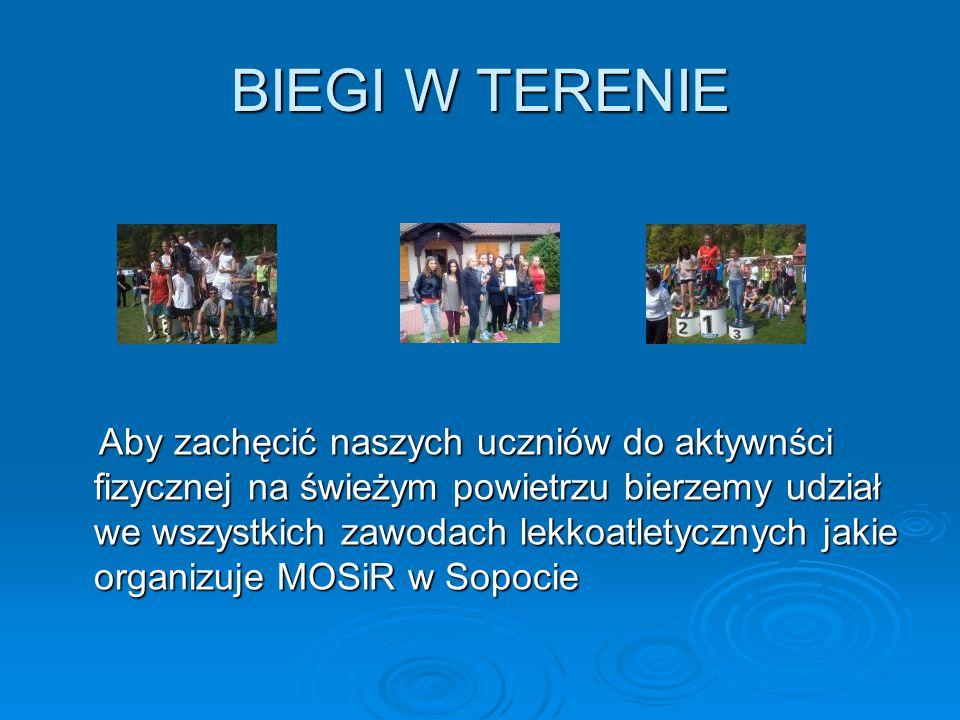 BIEGI W TERENIE Aby zachęcić naszych uczniów do aktywnści fizycznej na świeżym powietrzu bierzemy udział we wszystkich zawodach lekkoatletycznych jaki