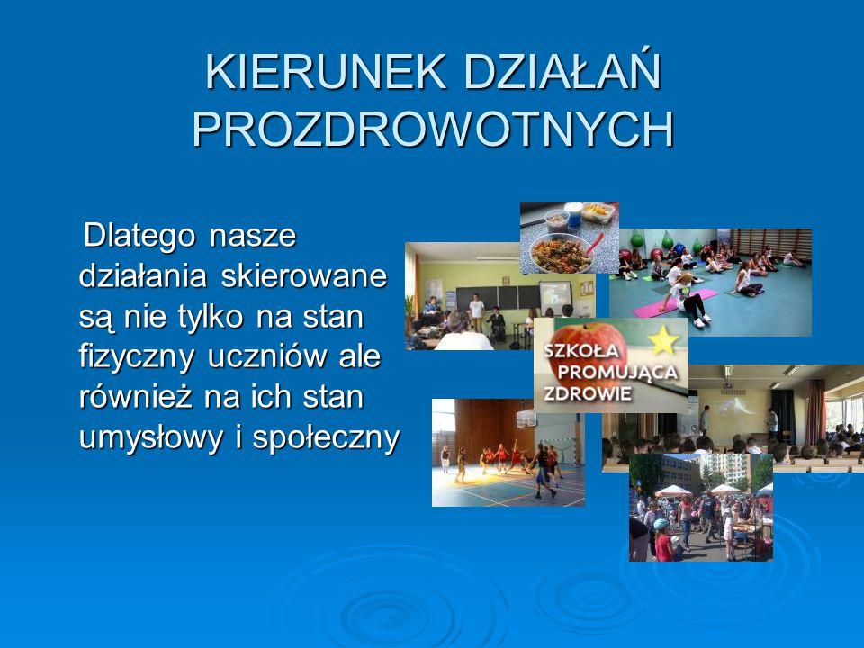 KIERUNEK DZIAŁAŃ PROZDROWOTNYCH Dlatego nasze działania skierowane są nie tylko na stan fizyczny uczniów ale również na ich stan umysłowy i społeczny