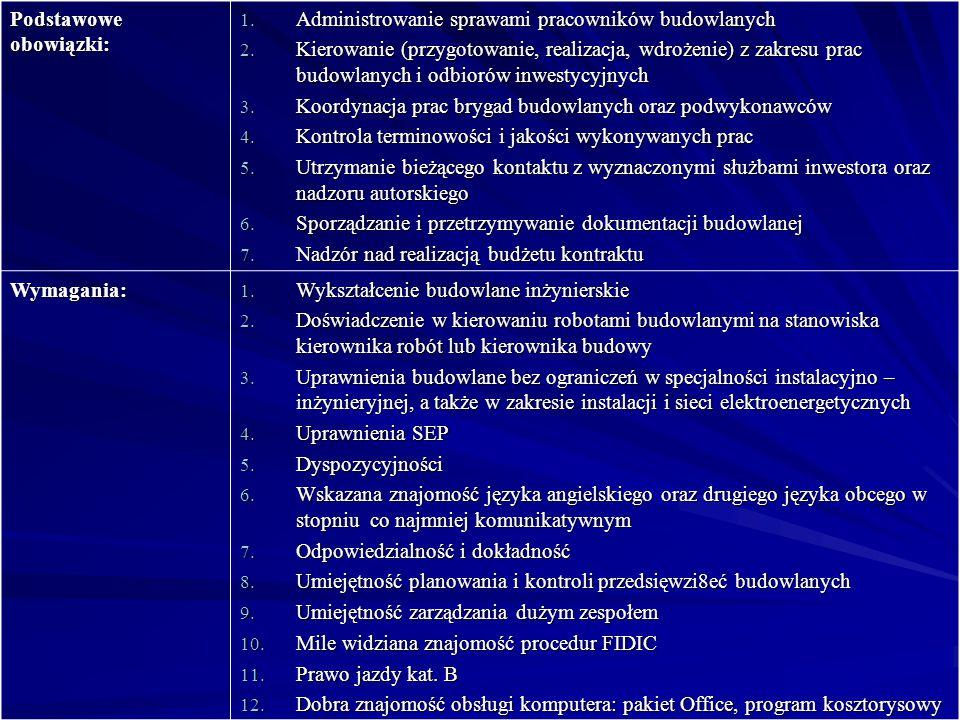 Podstawowe obowiązki: 1.Administrowanie sprawami pracowników budowlanych 2.