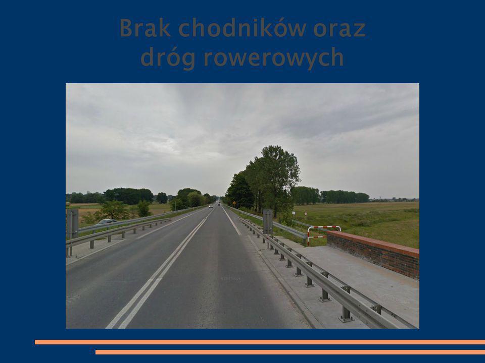 Brak chodników oraz dróg rowerowych