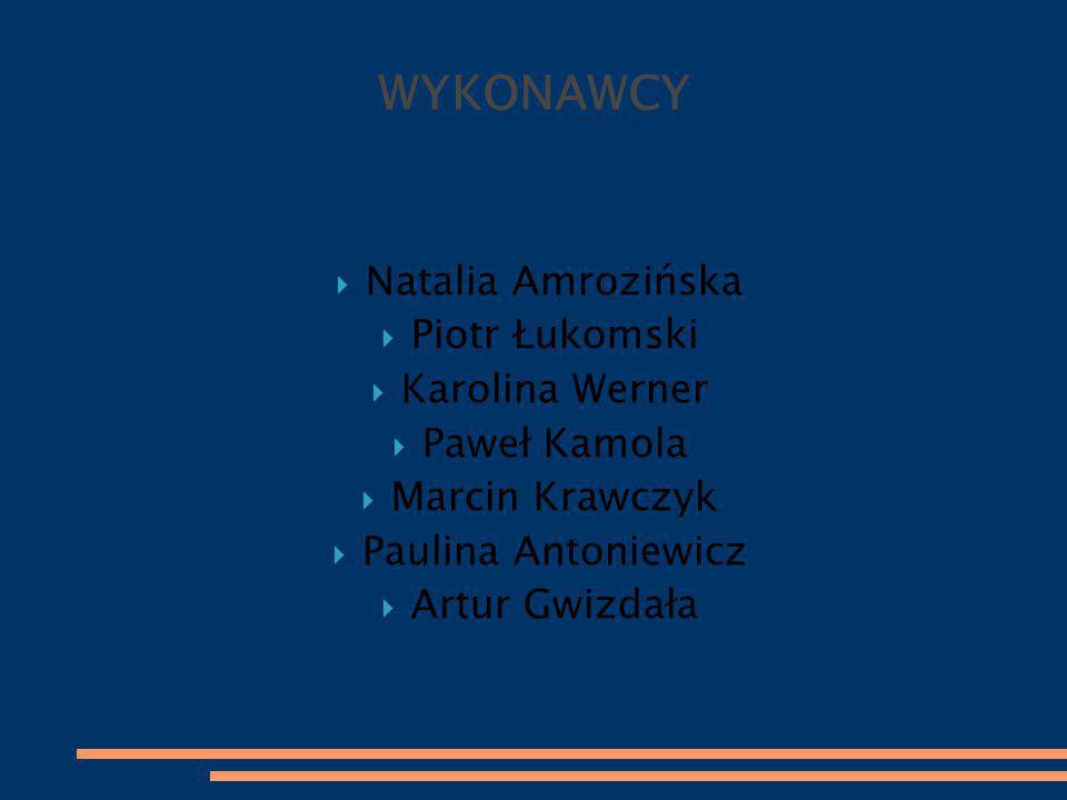 WYKONAWCY  Natalia Amrozińska  Piotr Łukomski  Karolina Werner  Paweł Kamola  Marcin Krawczyk  Paulina Antoniewicz  Artur Gwizdała