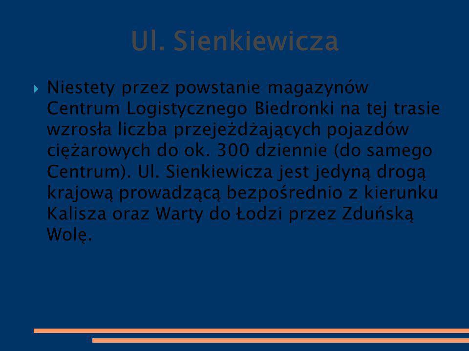 Brak chodników oraz dróg rowerowych  Na odcinku 1km trasy w odległości od końca mostu do skrzyżowania Sienkiewicza- Widawska-Uniejowska zauważamy brak części chodnika.
