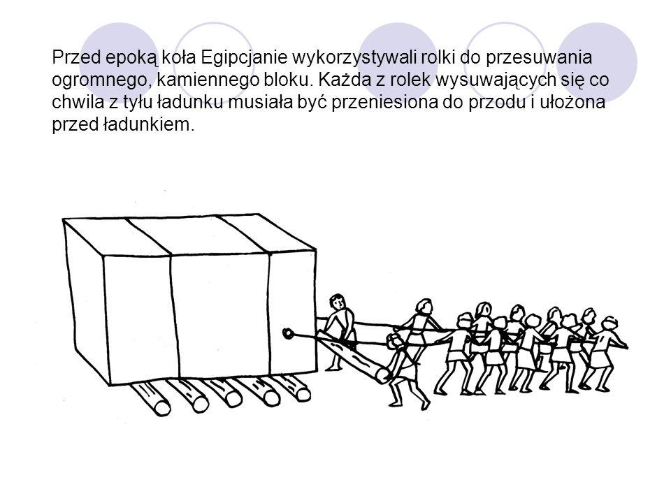 Przed epoką koła Egipcjanie wykorzystywali rolki do przesuwania ogromnego, kamiennego bloku. Każda z rolek wysuwających się co chwila z tyłu ładunku m