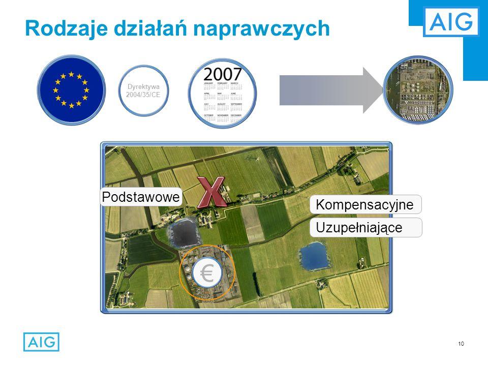 10 Rodzaje działań naprawczych Podstawowe Uzupełniające Kompensacyjne €€€ Dyrektywa 2004/35/CE