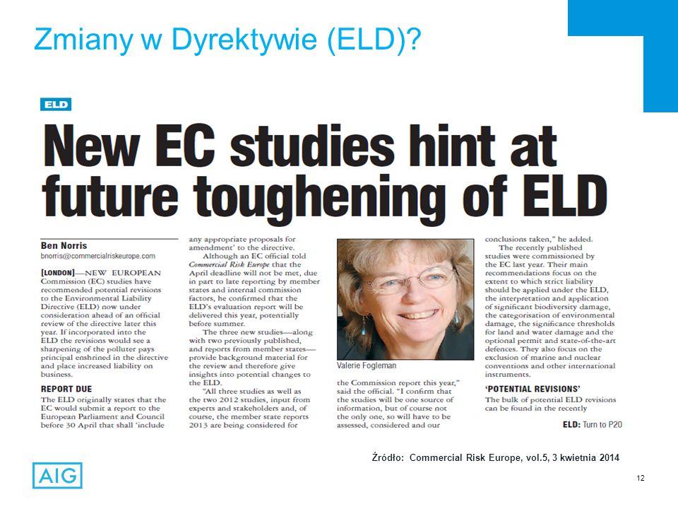 12 Zmiany w Dyrektywie (ELD)? Źródło: Commercial Risk Europe, vol.5, 3 kwietnia 2014