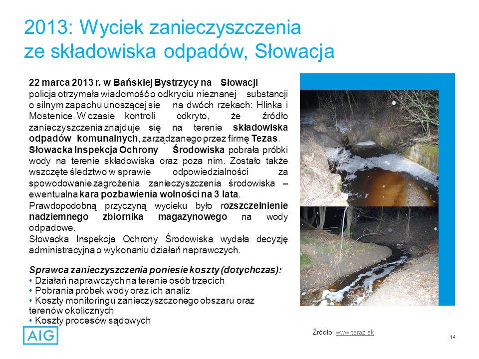 14 2013: Wyciek zanieczyszczenia ze składowiska odpadów, Słowacja 22 marca 2013 r.