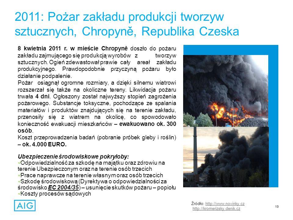19 2011: Pożar zakładu produkcji tworzyw sztucznych, Chropyně, Republika Czeska 8 kwietnia 2011 r.