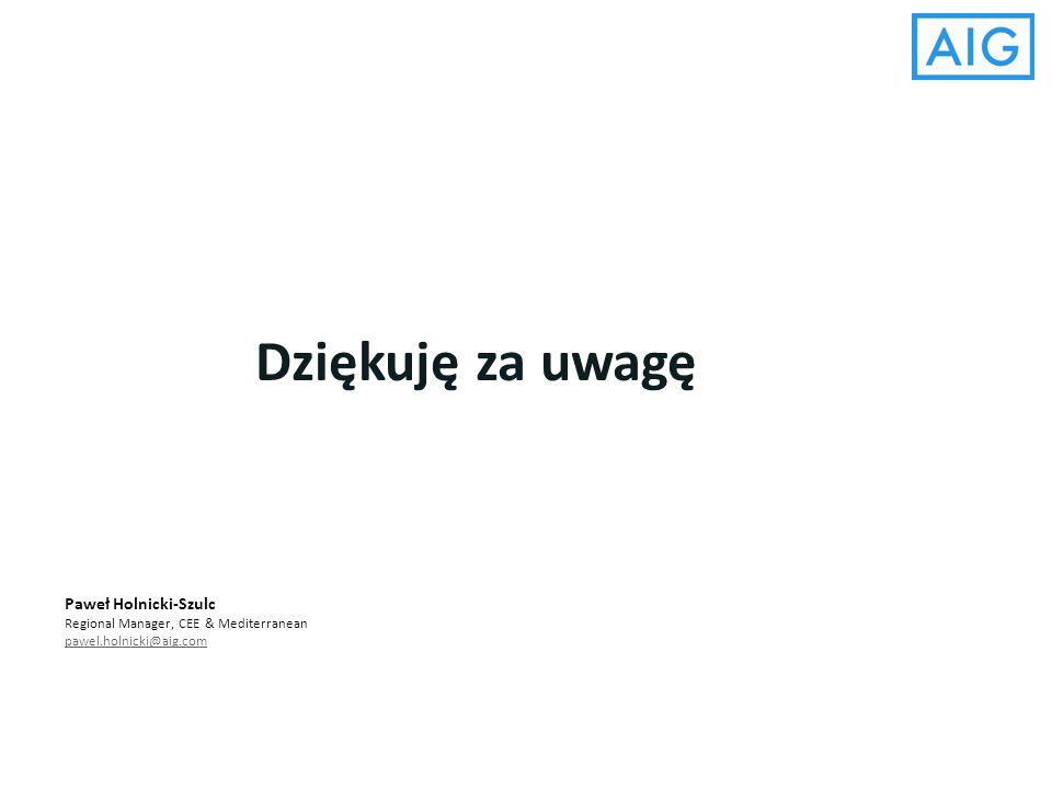 Dziękuję za uwagę Paweł Holnicki-Szulc Regional Manager, CEE & Mediterranean pawel.holnicki@aig.com