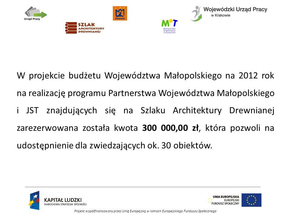 Projekt współfinansowany przez Unię Europejską w ramach Europejskiego Funduszu Społecznego W projekcie budżetu Województwa Małopolskiego na 2012 rok na realizację programu Partnerstwa Województwa Małopolskiego i JST znajdujących się na Szlaku Architektury Drewnianej zarezerwowana została kwota 300 000,00 zł, która pozwoli na udostępnienie dla zwiedzających ok.