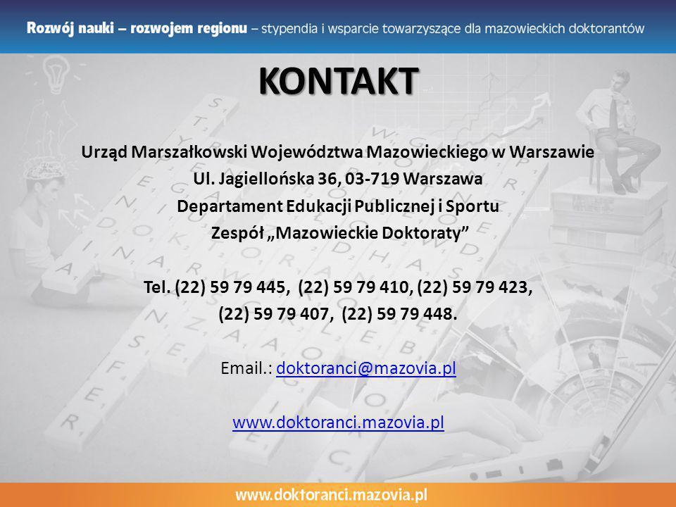 KONTAKT Urząd Marszałkowski Województwa Mazowieckiego w Warszawie Ul.
